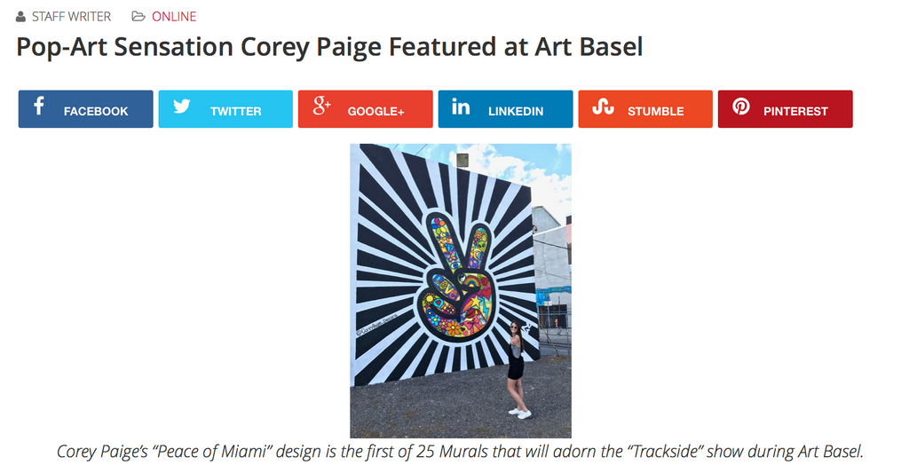 Pop-Art Sensation Corey Paige Featured at Art Basel