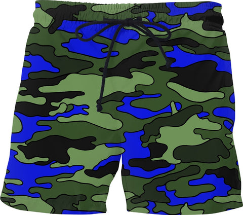 Blue & Green Camouflage Swim Shorts