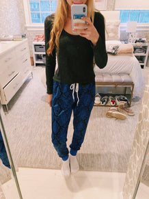 Royal Blue Snakeskin Joggers