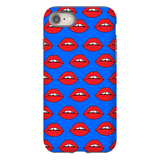 Red Lips on Blue iPhone Case