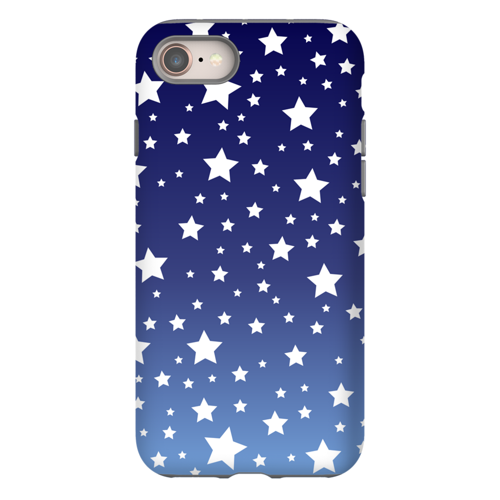 White Stars Blue Ombre iPhone Case