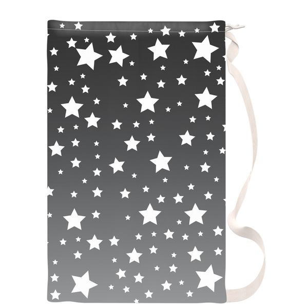 White Stars Gray Ombre Laundry Bag