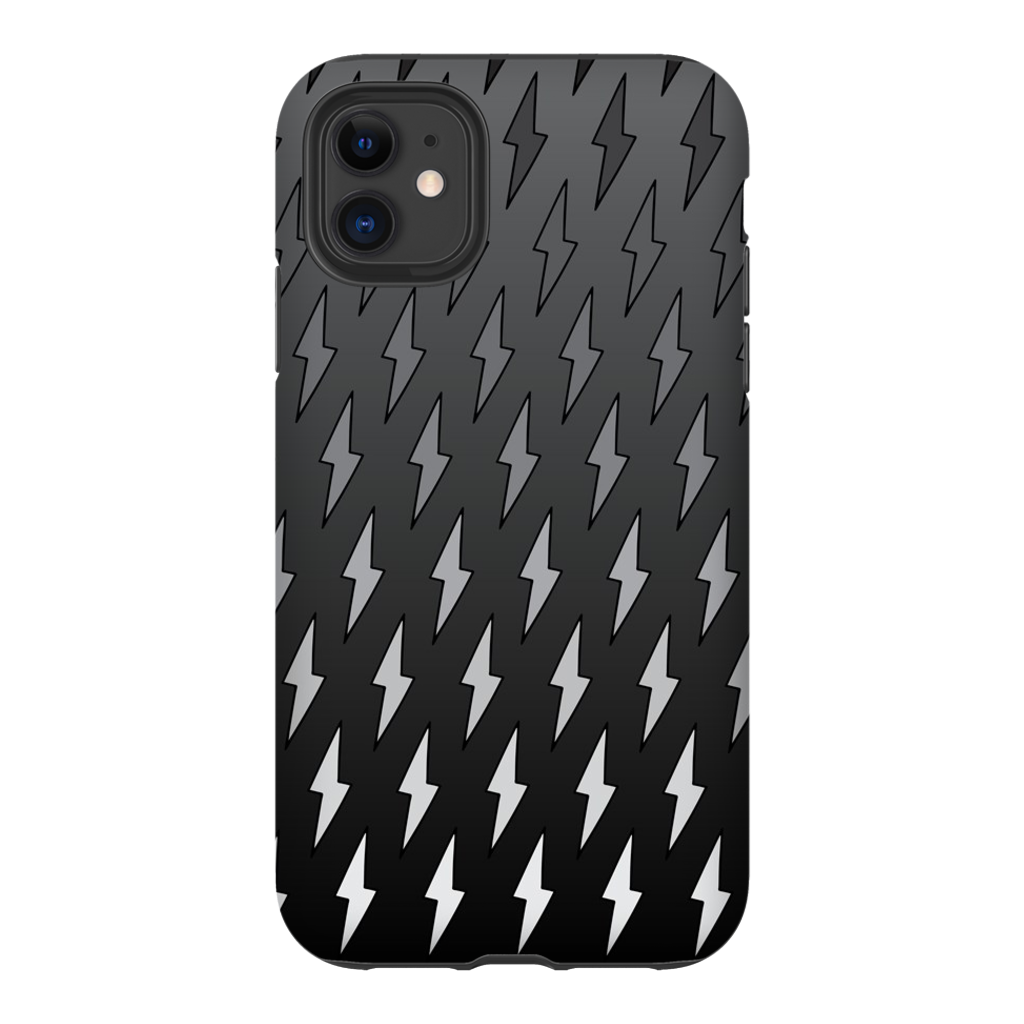 Gray Ombre Lightning Bolts iPhone Case