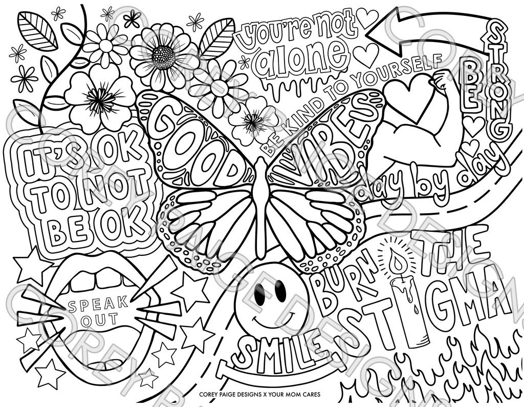 YourMomCares x Corey Paige Designs Coloring Sheet Pack