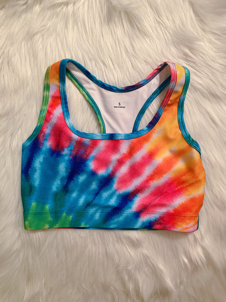 Cropped Rainbow Tie Dye Sports Bra
