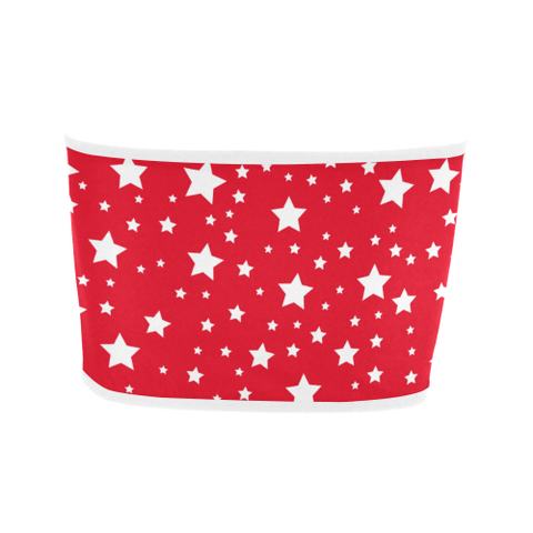 White Stars Red Bandeau Top