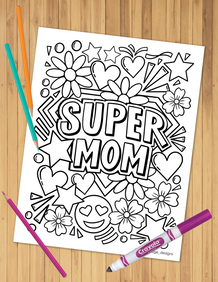 Super Mom Coloring Sheet