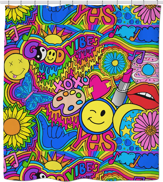 Good Vibes Hippie Shower Curtain