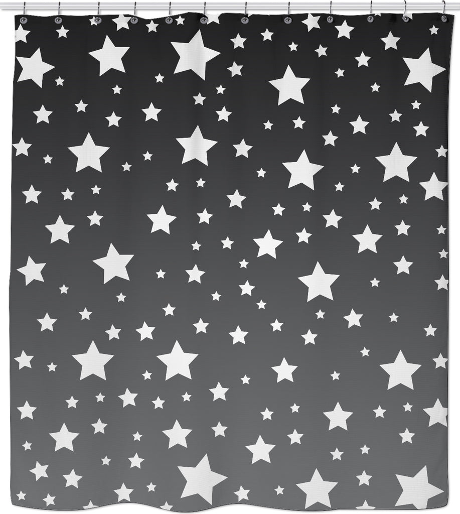 White Stars Gray Ombre Shower Curtain CoreyPaigeDesigns