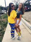Blue & Yellow Camouflage Leggings - XS