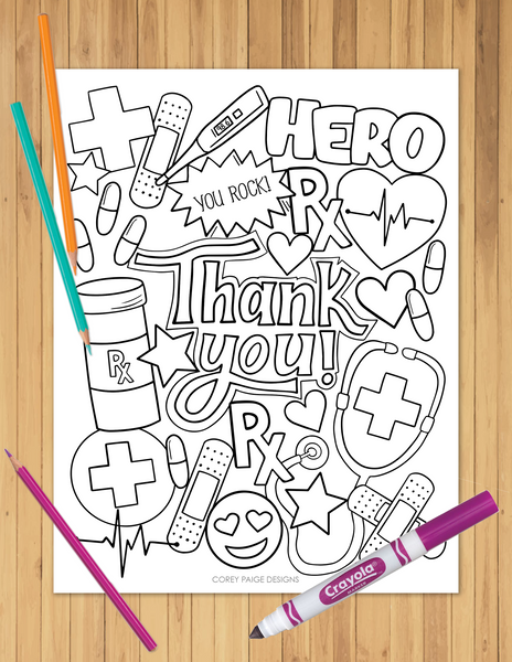 Thank You Healthcare Heroes Coloring Sheet