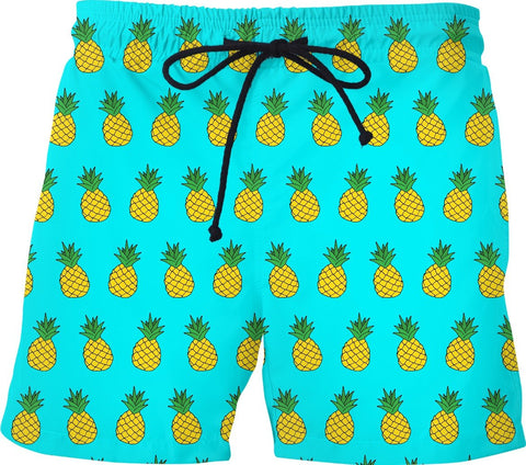 Tilted Pineapple Turquoise Swim Shorts
