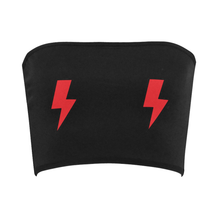 Double Lighting Bolts Red & Black Bandeau Top