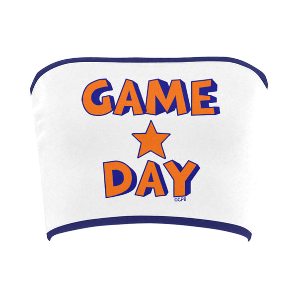 Game Day Star Stacked Orange/Blue Bandeau Top