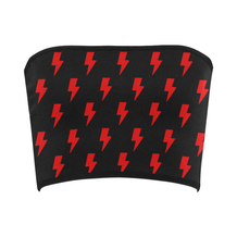 All-Over Lighting Bolts Red & Black Bandeau Top