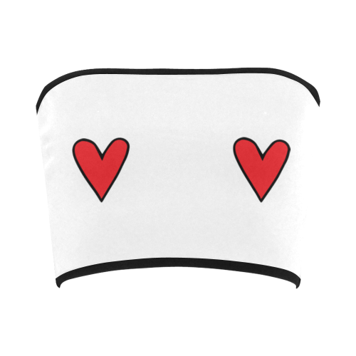Double Red Hearts Bandeau Top