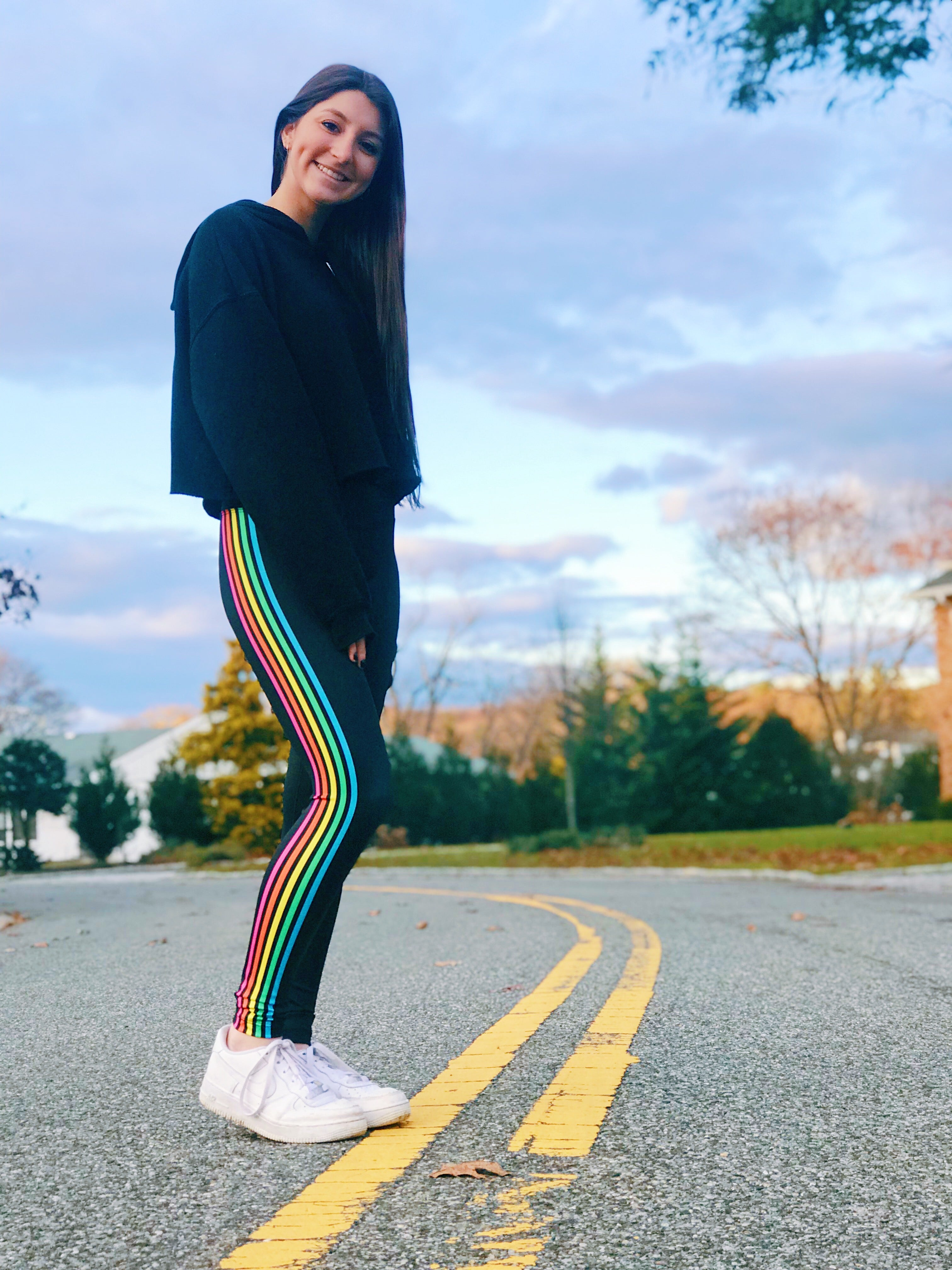 Rainbow Side Stripe Leggingsq