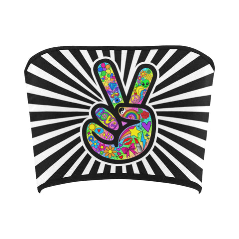 Funky Peace Sign Bandeau Top