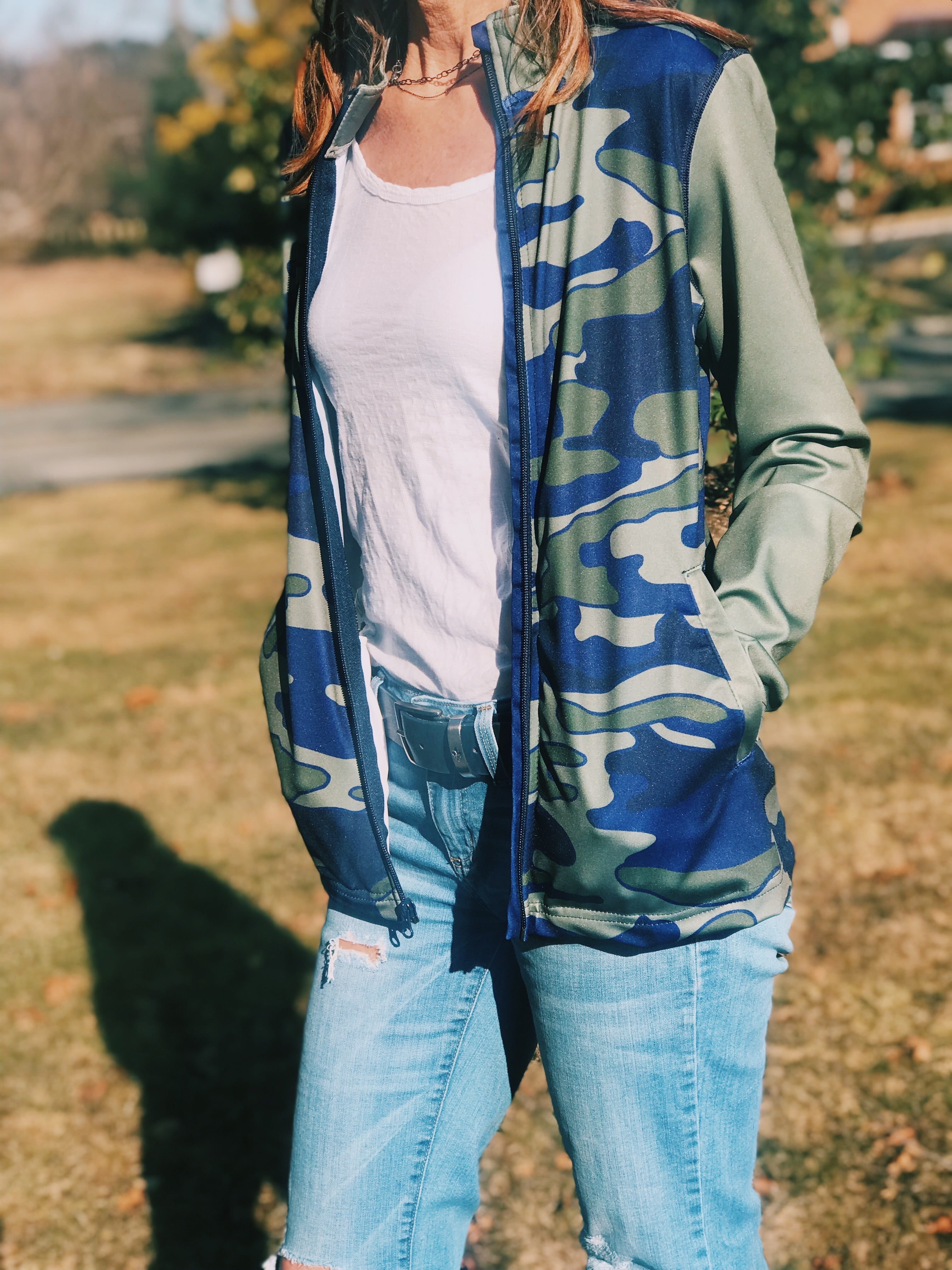 Olive & Navy Camo Zip Up