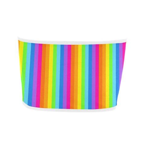 Bright Rainbow Striped Bandeau Top