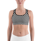 Black & White Checkered Sports Bra