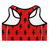 Black & Red Lightning Bolts Sports Bra