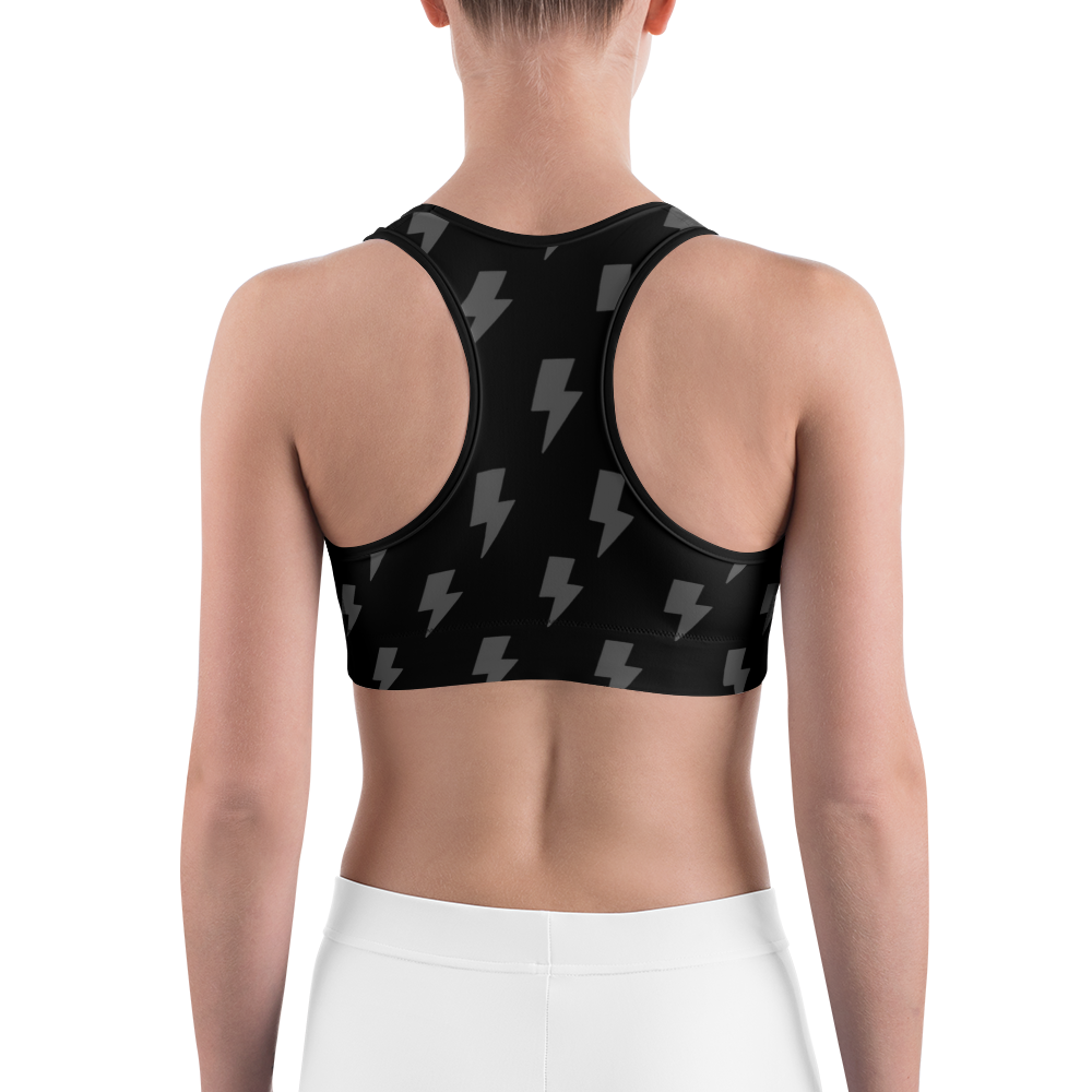 Gray & Black Lighting Bolts Sports Bra