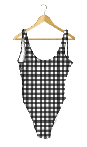 Black Gingham One-Piece