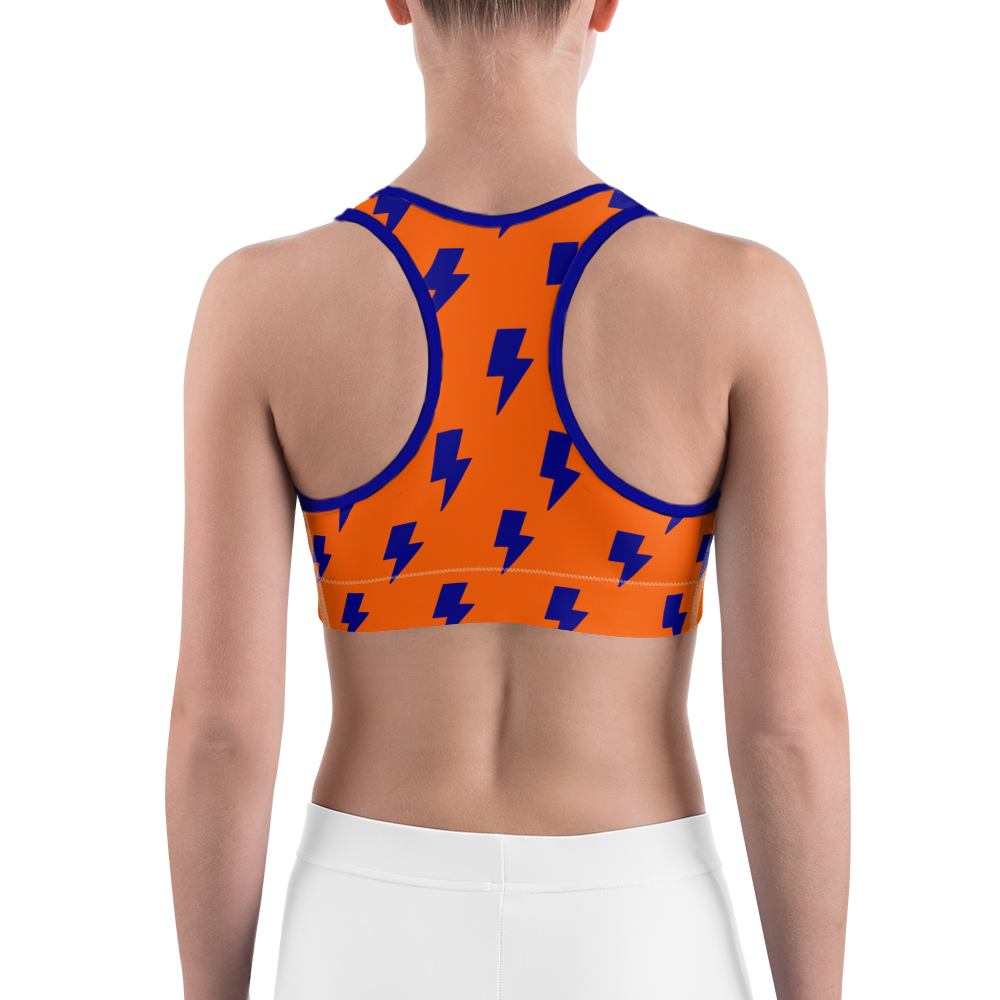 Orange & Blue Lightning Bolts Sports Bra
