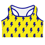 Blue & Yellow Lightning Bolts Sports Bra