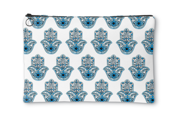 Blue Hamsa Repeat Accessory Pouch