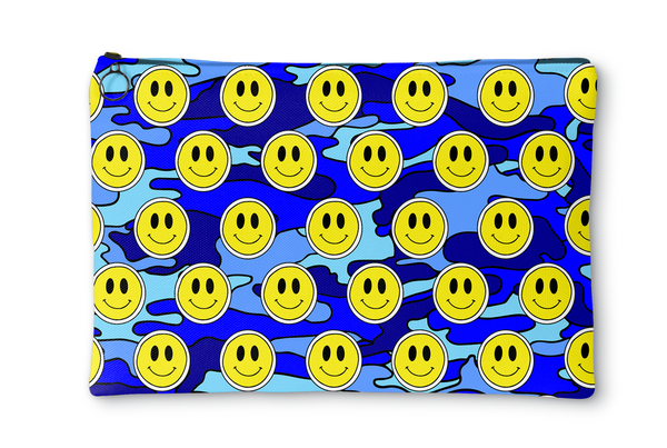 Blue Smiley Camo Accessory Pouch