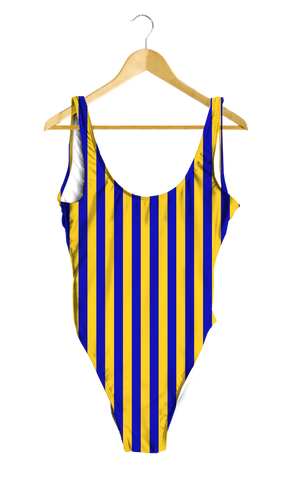 Blue & Yellow Striped One-Piece