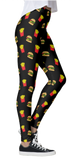 Burger & Fries Black Thick Band Leggings
