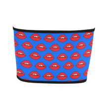 Red Lips Blue Bandeau Top
