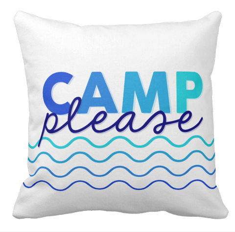 Camp Please Blue Waves Throw Pillow