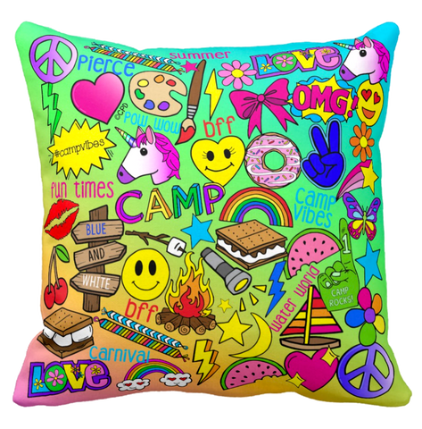 Camp Times - Pierce Day Camp - Throw Pillow
