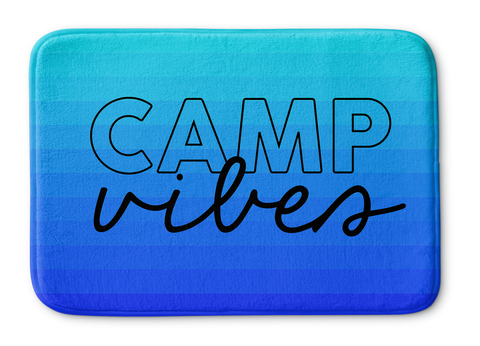 Camp Vibes Blue Ombre Striped Bathmat
