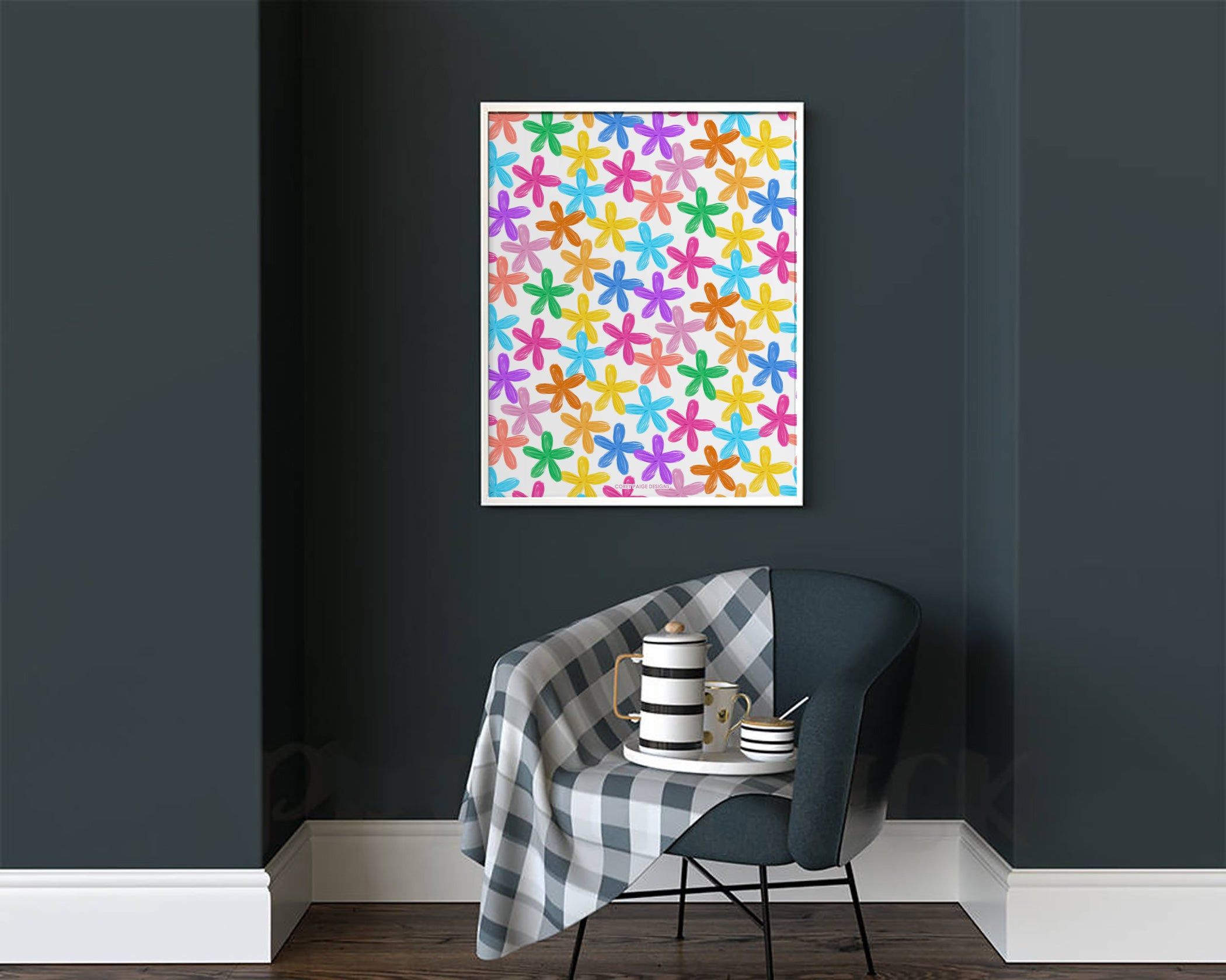 Colorful Painted Flowers Framed Print