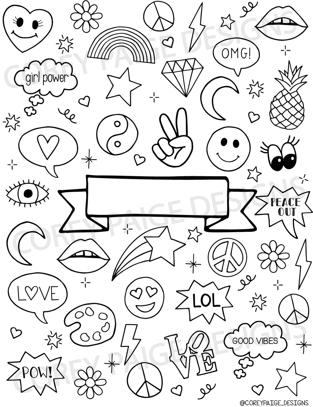 Doodle Icons Name Plate Coloring Sheet