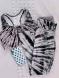 Black & White Tie Dye Sports Bra