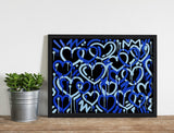 Blue Electric Love Framed Print