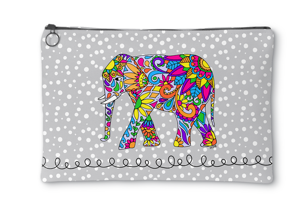 Colorful Elephant Accessory Pouch