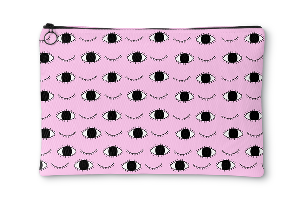 Eyes Light Pink Accessory Pouch