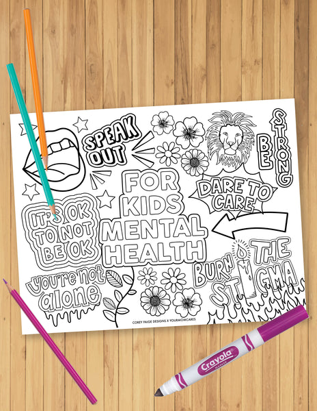 For Kids Mental Health Coloring Sheet