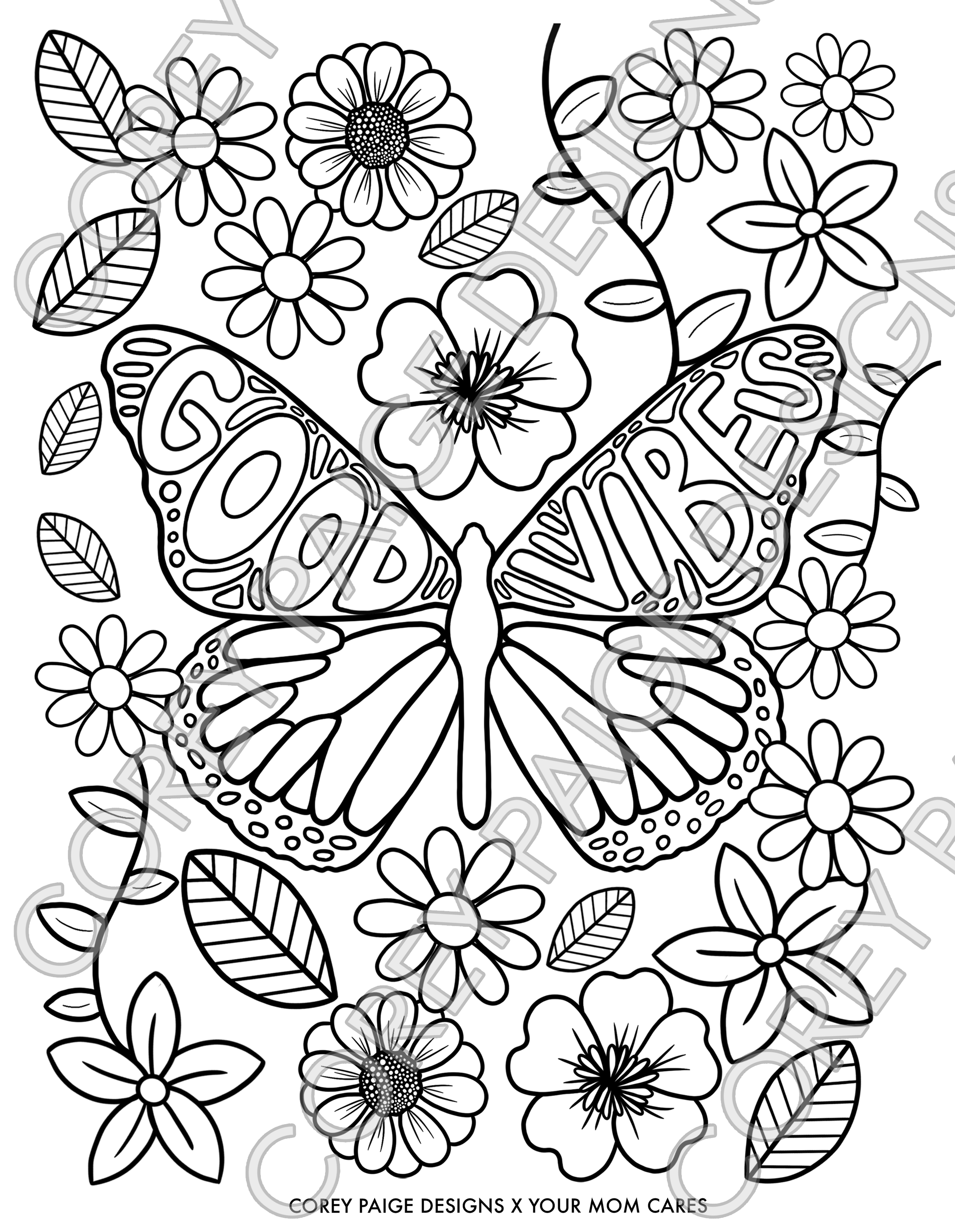 Good Vibes Butterfly Coloring Sheet