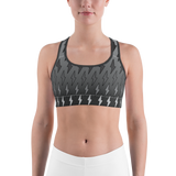 Gray Ombre Lighting Bolts Sports Bra