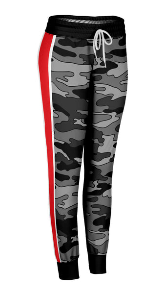 Gray Camo Red Stripe Joggers