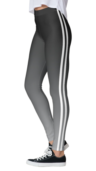 Gray Ombre Double White Striped Leggings