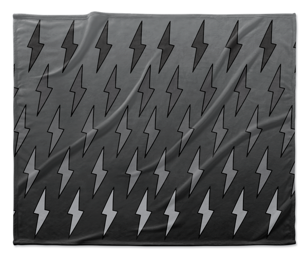 Gray Ombre Lightning Bolts Blanket